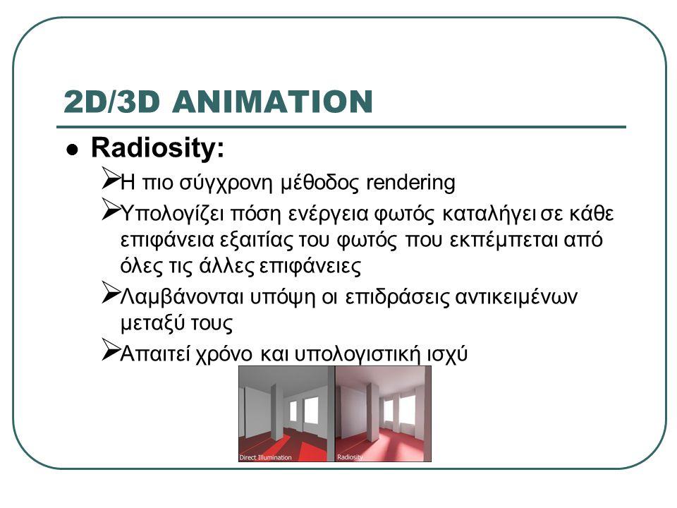 2D/3D ANIMATION Radiosity: Η πιο σύγχρονη μέθοδος rendering