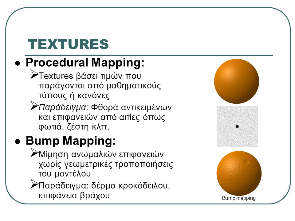 TEXTURES Procedural Mapping: Bump Mapping:
