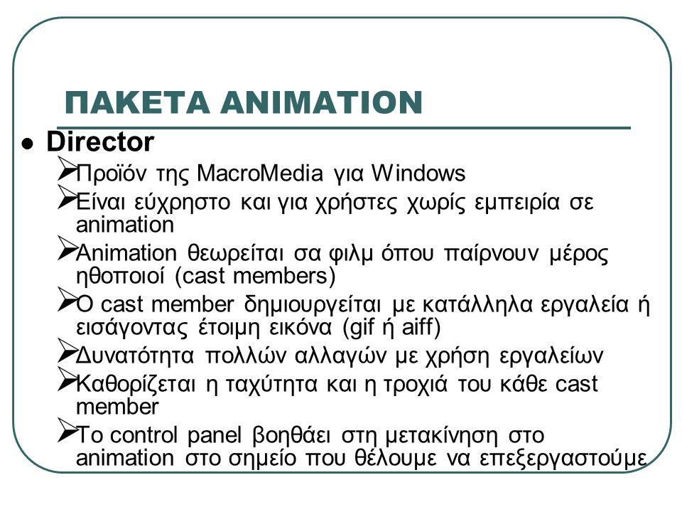 ΠΑΚΕΤA ΑΝΙΜΑΤΙΟΝ Director Προϊόν της MacroMedia για Windows