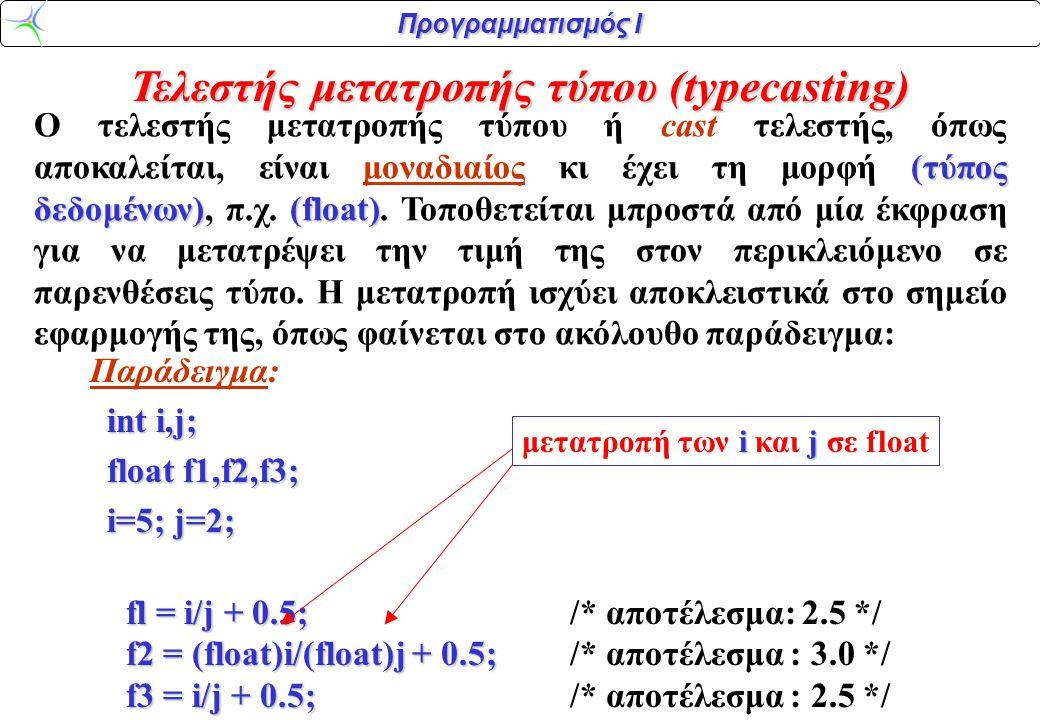 Τελεστής μετατροπής τύπου (typecasting)
