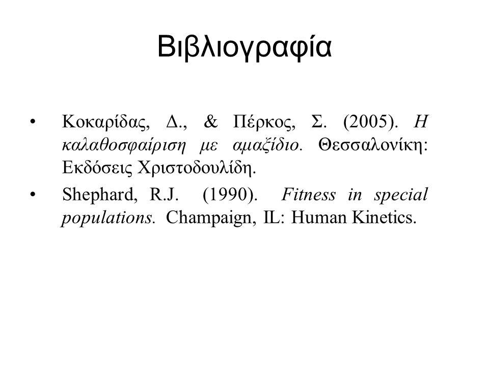 Βιβλιογραφία Κοκαρίδας, Δ., & Πέρκος, Σ. (2005). Η καλαθοσφαίριση με αμαξίδιο. Θεσσαλονίκη: Εκδόσεις Χριστοδουλίδη.