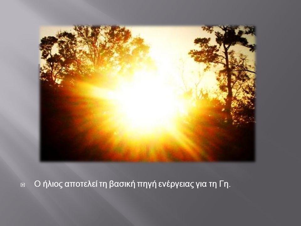 Ο ήλιος αποτελεί τη βασική πηγή ενέργειας για τη Γη.
