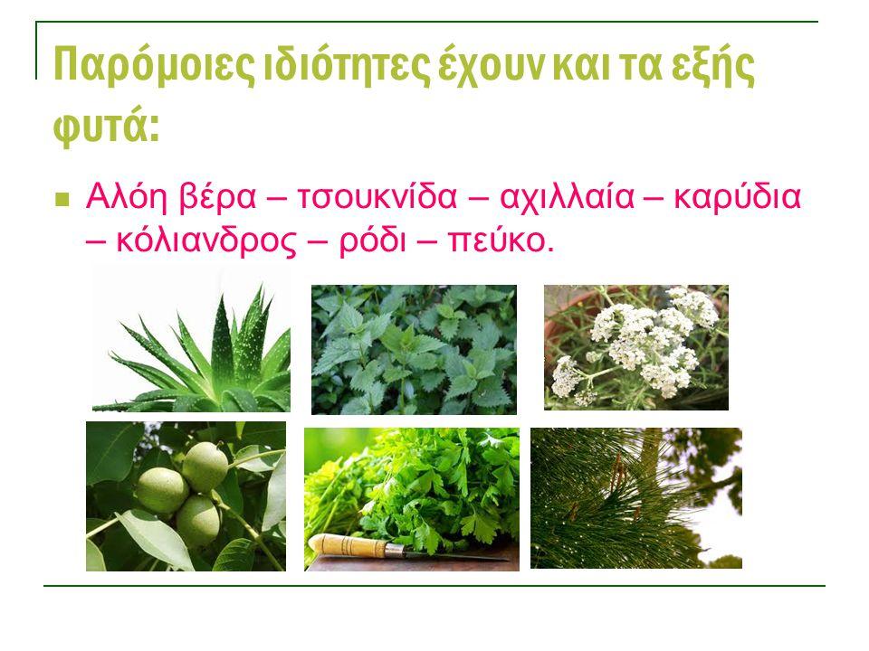 Παρόμοιες ιδιότητες έχουν και τα εξής φυτά: