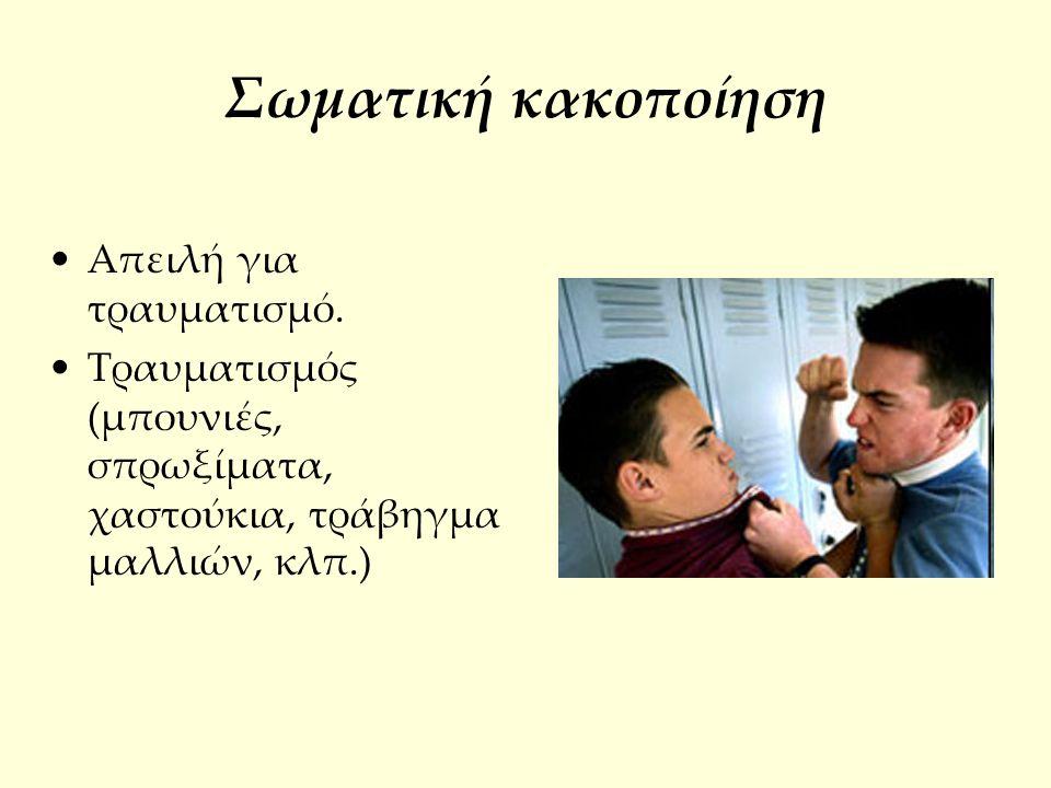 Σωματική κακοποίηση Απειλή για τραυματισμό.