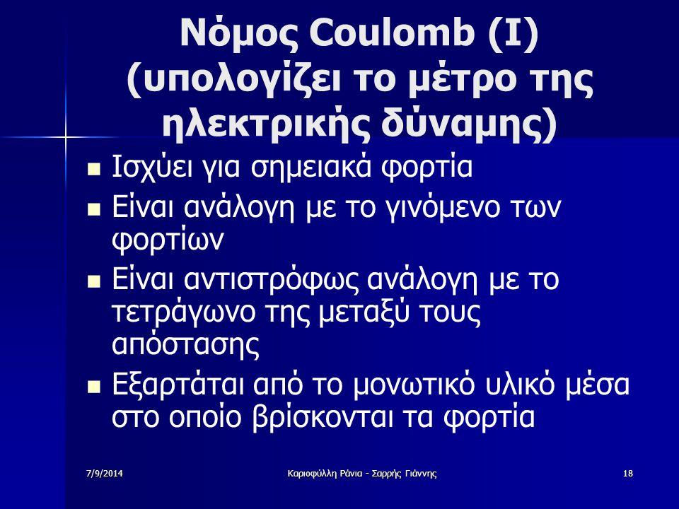 Νόμος Coulomb (Ι) (υπολογίζει το μέτρο της ηλεκτρικής δύναμης)