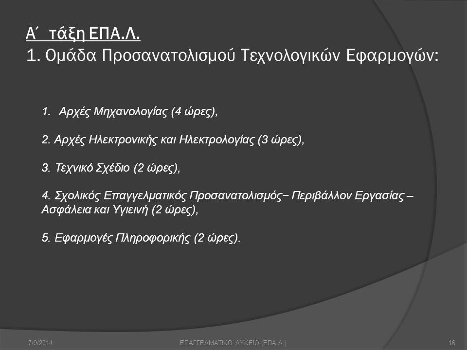 Α΄ τάξη ΕΠΑ.Λ. 1. Ομάδα Προσανατολισμού Τεχνολογικών Εφαρμογών: