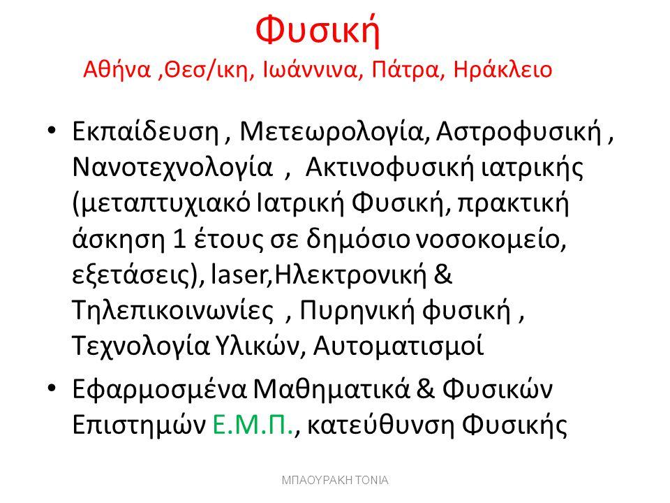 Φυσική Αθήνα ,Θεσ/ικη, Ιωάννινα, Πάτρα, Ηράκλειο