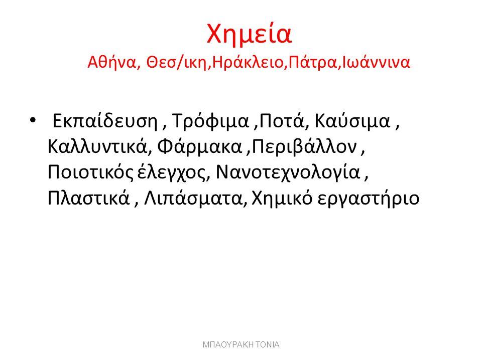Χημεία Αθήνα, Θεσ/ικη,Ηράκλειο,Πάτρα,Ιωάννινα