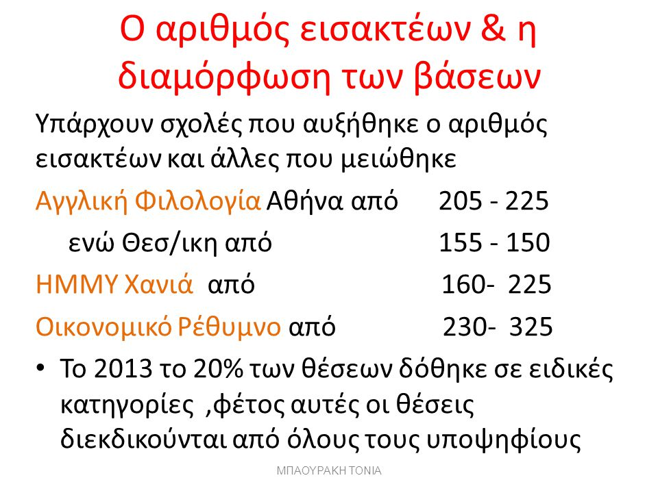 Ο αριθμός εισακτέων & η διαμόρφωση των βάσεων