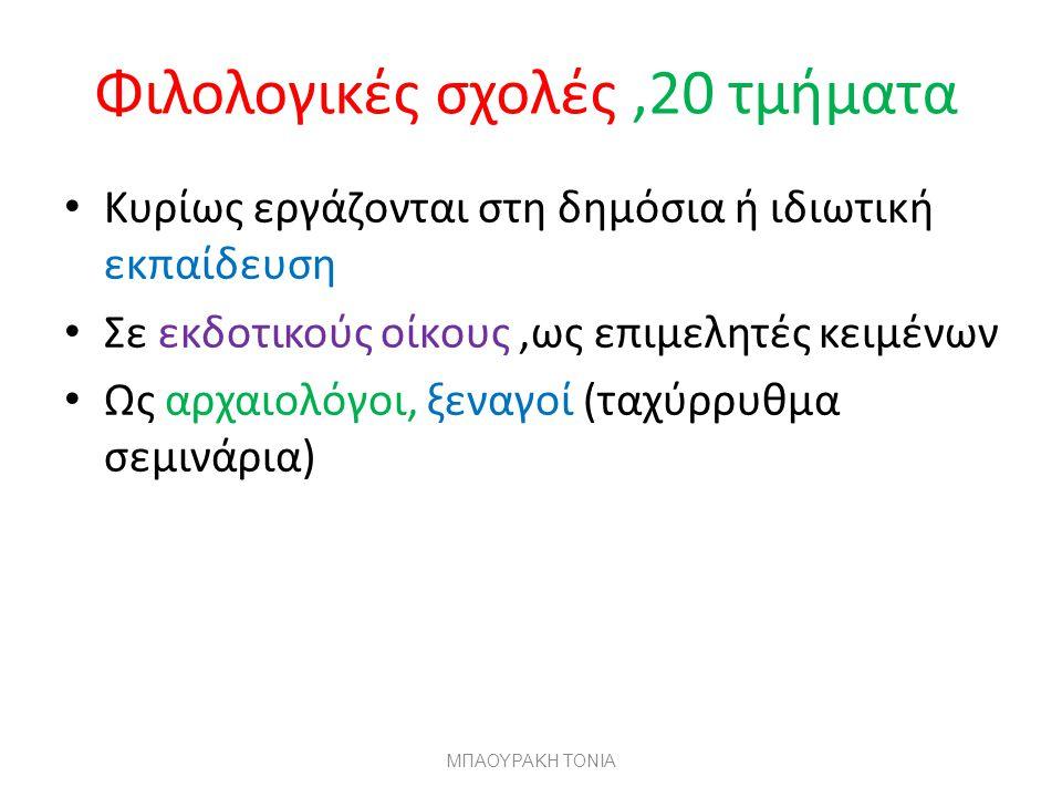 Φιλολογικές σχολές ,20 τμήματα