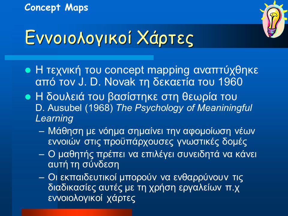 Concept Maps Εννοιολογικοί Χάρτες. Η τεχνική του concept mapping αναπτύχθηκε από τον J. D. Novak τη δεκαετία του 1960.