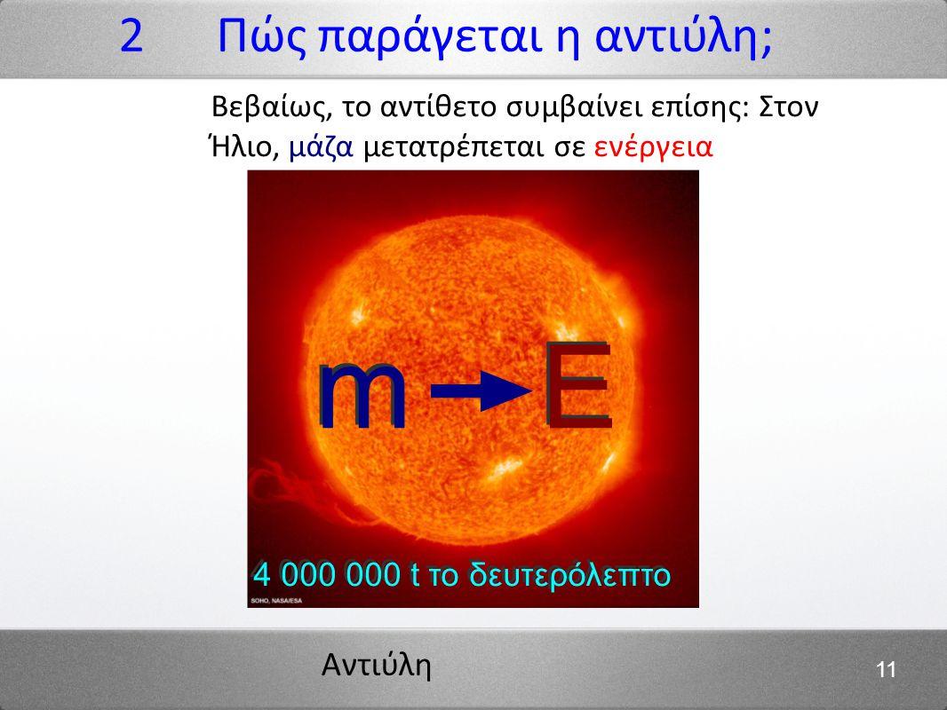 m E 2 Πώς παράγεται η αντιύλη;