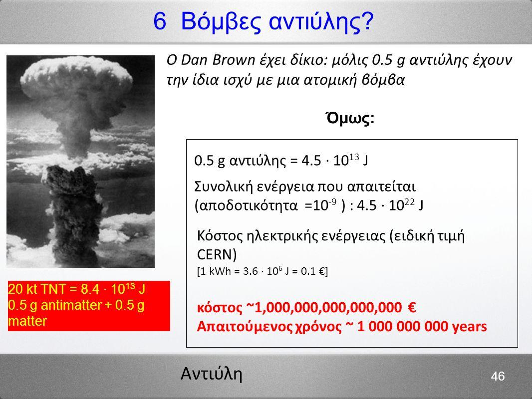 6 Βόμβες αντιύλης 20 kt TNT = 8.4 · 1013 J. 0.5 g antimatter + 0.5 g matter.