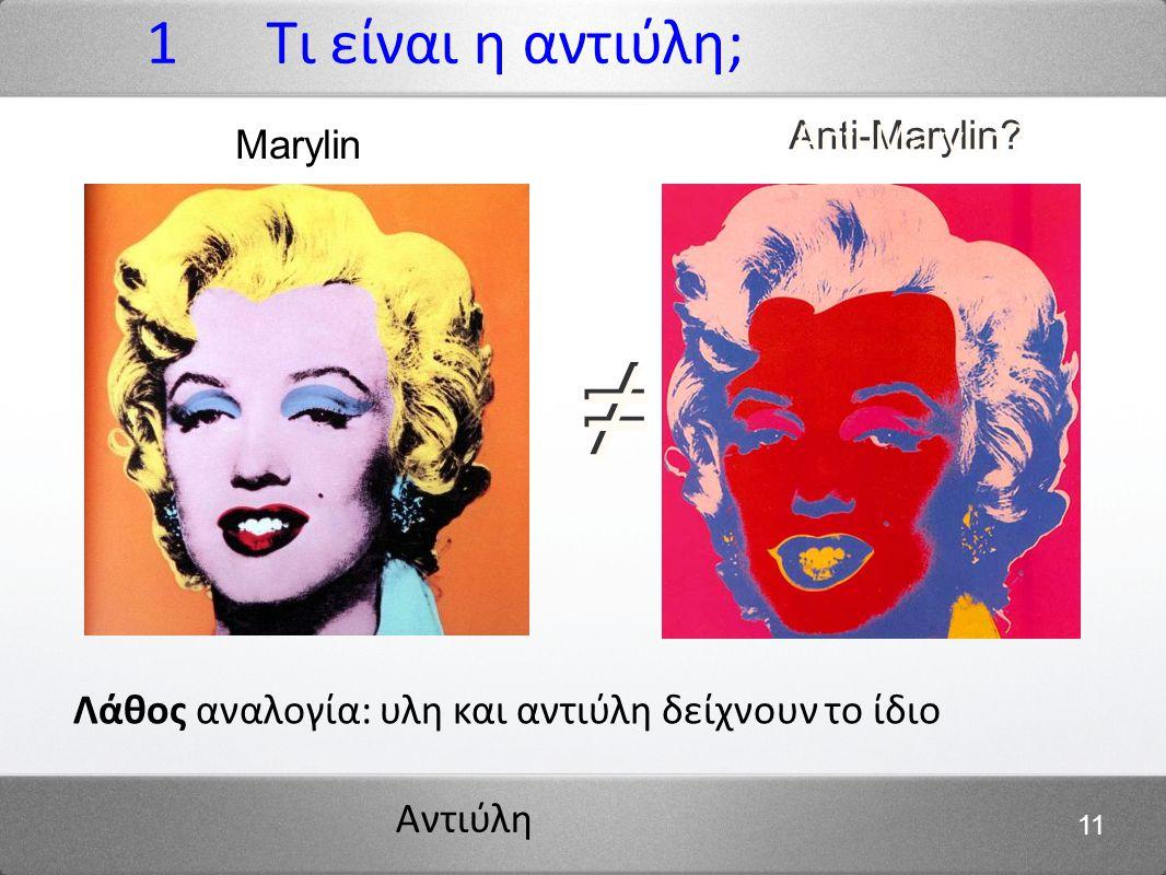 1 Τι είναι η αντιύλη; Marylin Anti-Marylin ≠ Λάθος αναλογία: υλη και αντιύλη δείχνουν το ίδιο