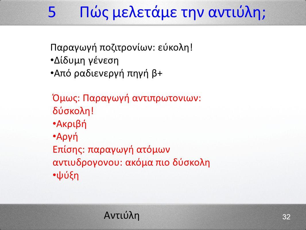 5 Πώς μελετάμε την αντιύλη;