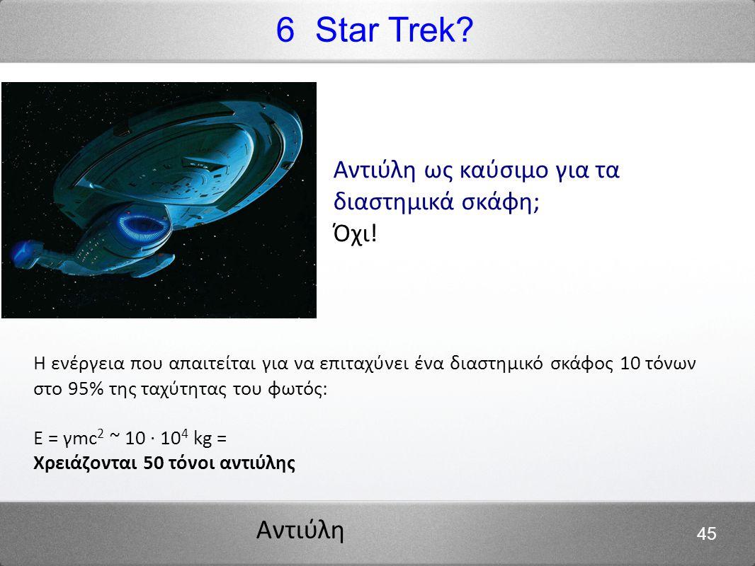 6 Star Trek Αντιύλη ως καύσιμο για τα διαστημικά σκάφη; Όχι!
