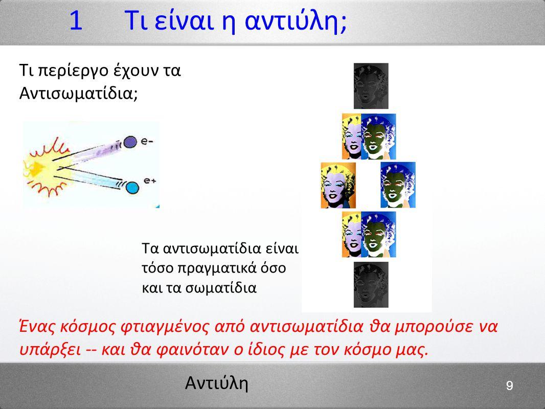 1 Τι είναι η αντιύλη; Τι περίεργο έχουν τα Αντισωματίδια;