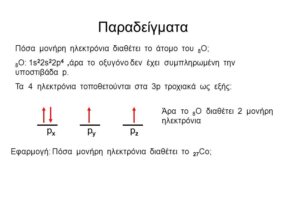 Παραδείγματα px py pz Πόσα μονήρη ηλεκτρόνια διαθέτει το άτομο του 8Ο;