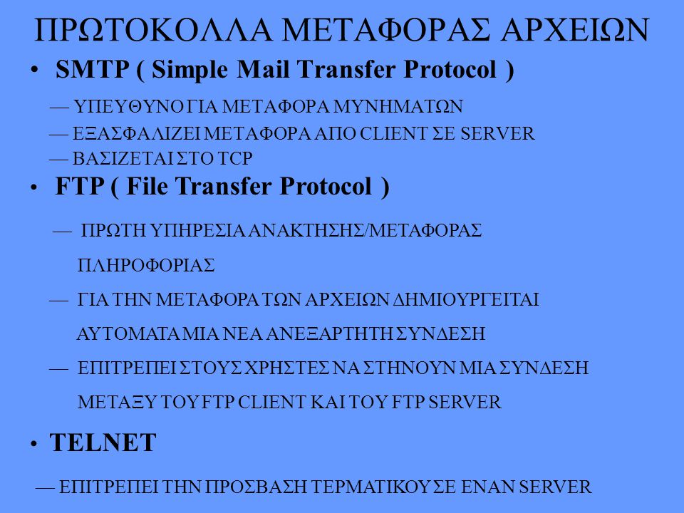 ΠΡΩΤΟΚΟΛΛΑ ΜΕΤΑΦΟΡΑΣ ΑΡΧΕΙΩΝ