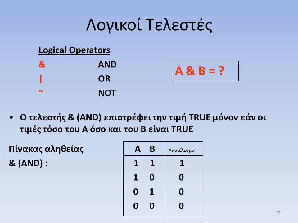 Λογικοί Τελεστές A & B = Logical Operators & AND | OR ~ NOT