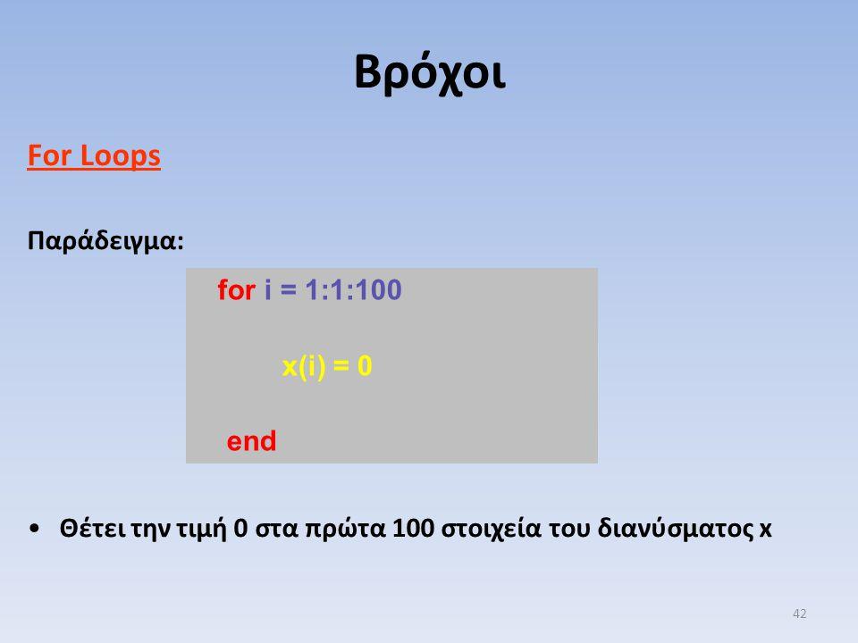 Βρόχοι For Loops Παράδειγμα: for i = 1:1:100 x(i) = 0