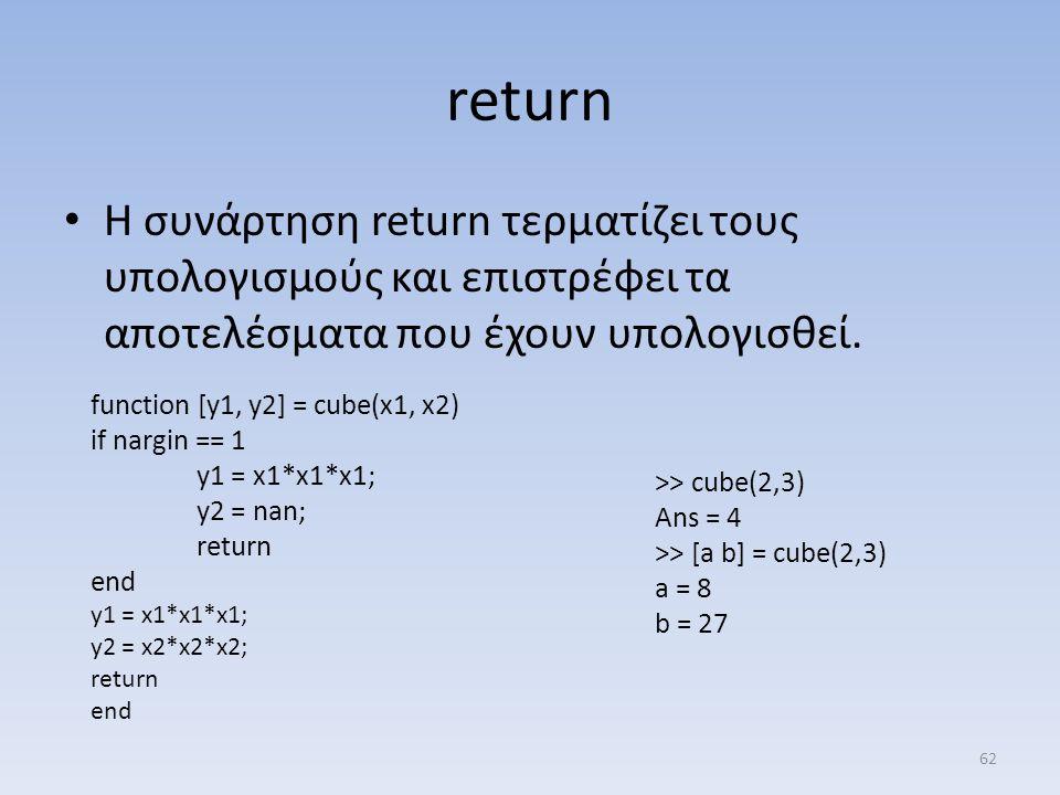 return Η συνάρτηση return τερματίζει τους υπολογισμούς και επιστρέφει τα αποτελέσματα που έχουν υπολογισθεί.