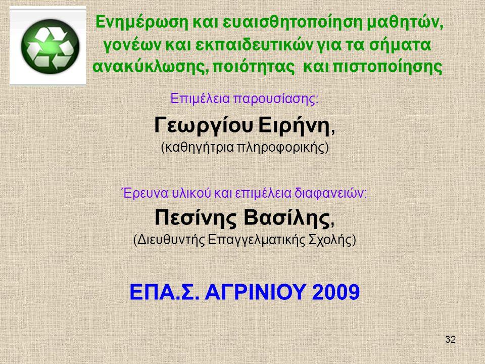 Γεωργίου Ειρήνη, Πεσίνης Βασίλης, ΕΠΑ.Σ. ΑΓΡΙΝΙΟΥ 2009