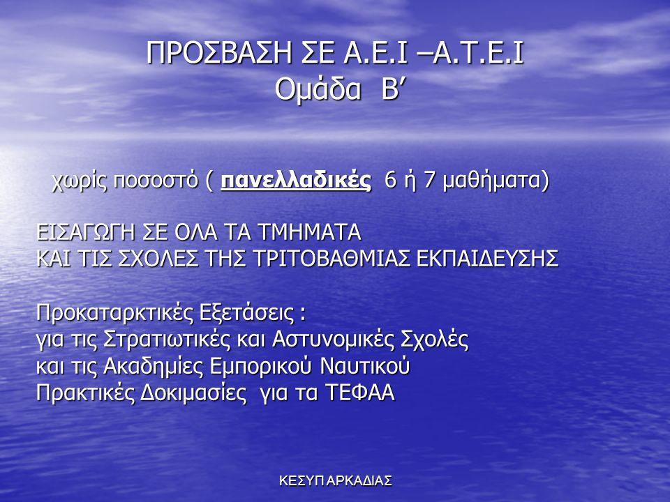 ΠΡΟΣΒΑΣΗ ΣΕ Α.Ε.Ι –A.T.E.I Ομάδα Β'