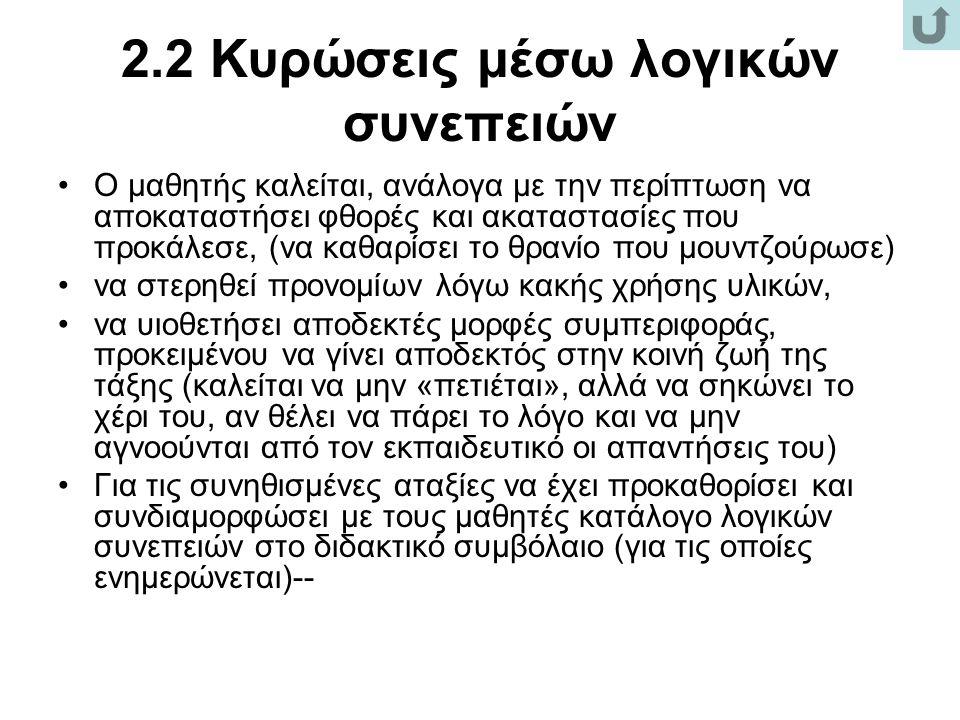 2.2 Κυρώσεις μέσω λογικών συνεπειών