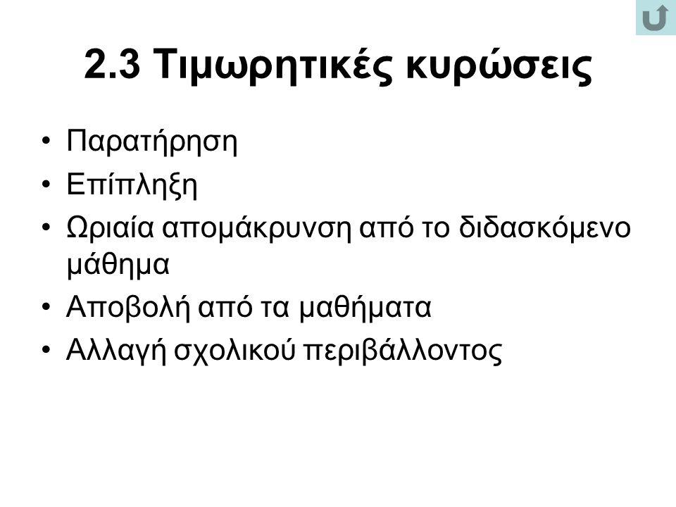 2.3 Τιμωρητικές κυρώσεις Παρατήρηση Επίπληξη