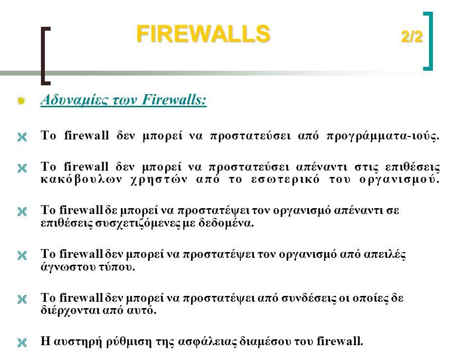 FIREWALLS 2/2 Αδυναμίες των Firewalls: