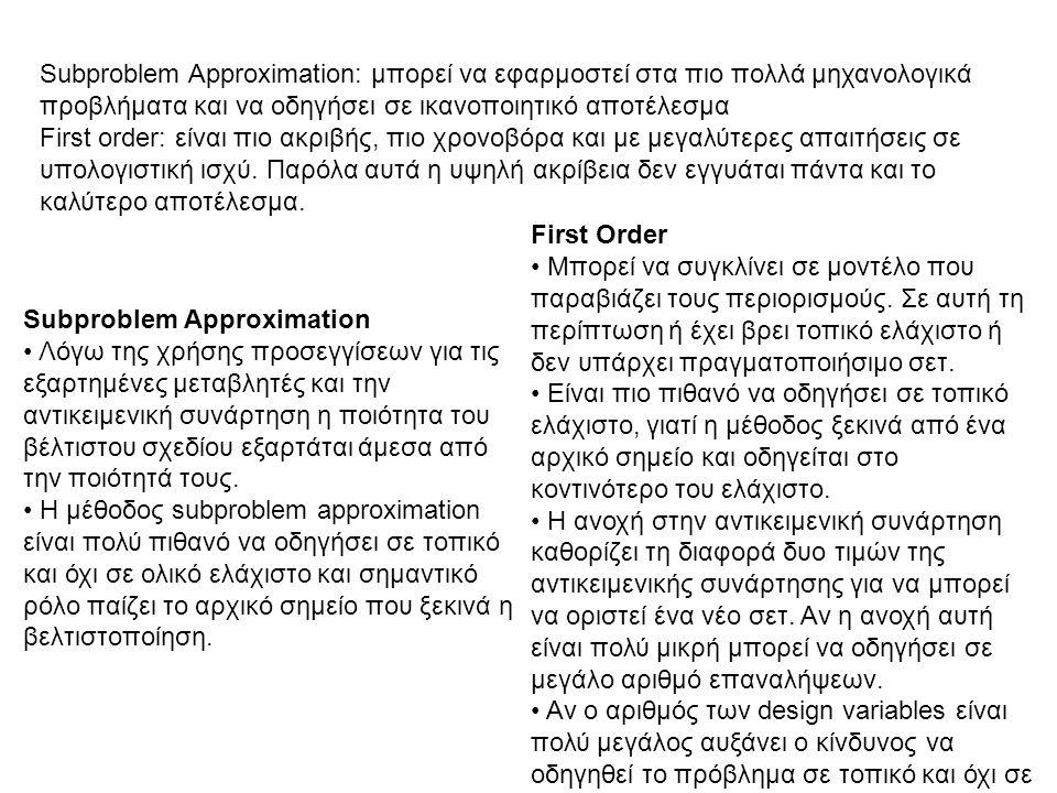 Subproblem Approximation: μπορεί να εφαρμοστεί στα πιο πολλά μηχανολογικά προβλήματα και να οδηγήσει σε ικανοποιητικό αποτέλεσμα