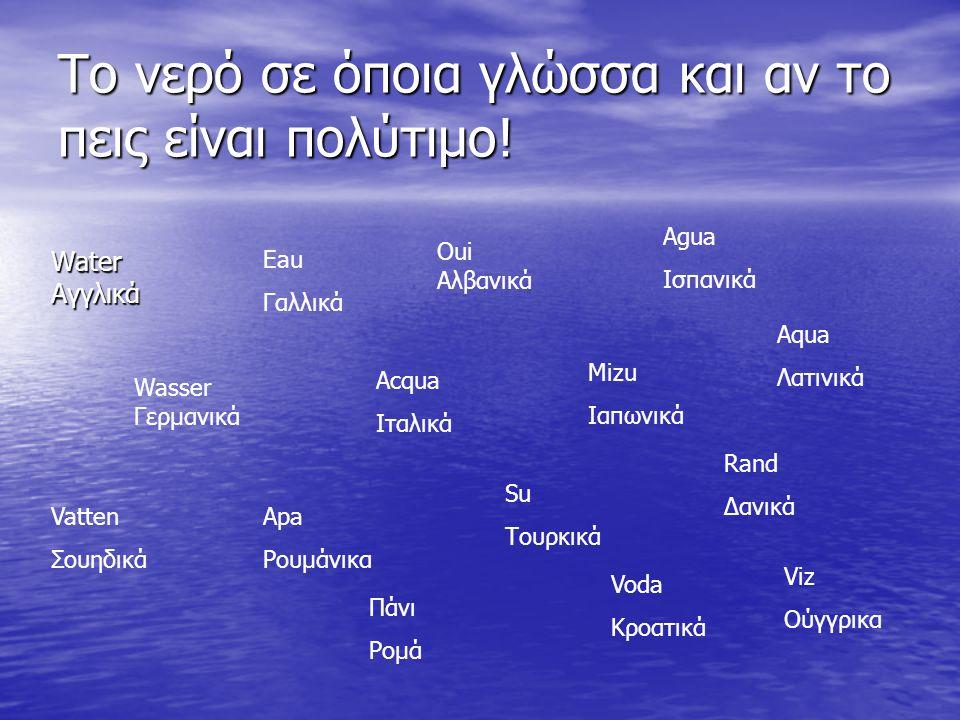 Το νερό σε όποια γλώσσα και αν το πεις είναι πολύτιμο!