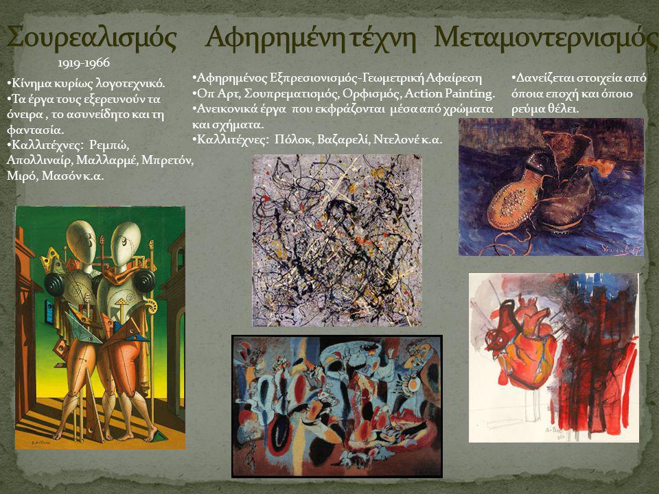 Σουρεαλισμός Αφηρημένη τέχνη Μεταμοντερνισμός