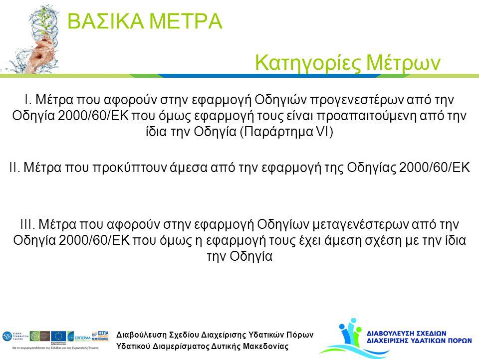 IΙ. Μέτρα που προκύπτουν άμεσα από την εφαρμογή της Οδηγίας 2000/60/ΕΚ