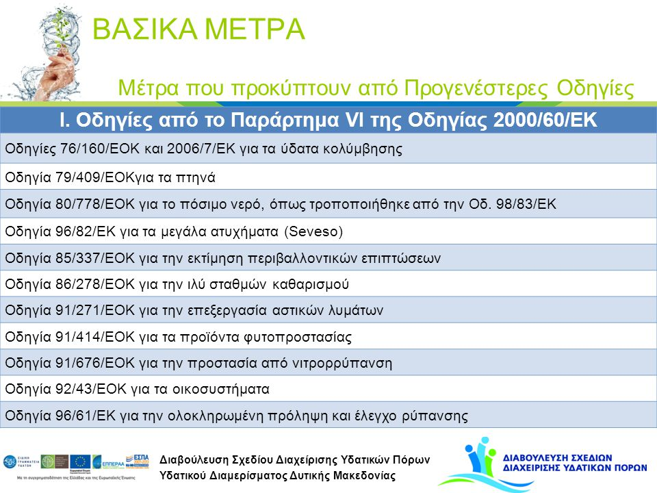 I. Οδηγίες από το Παράρτημα VI της Οδηγίας 2000/60/ΕΚ