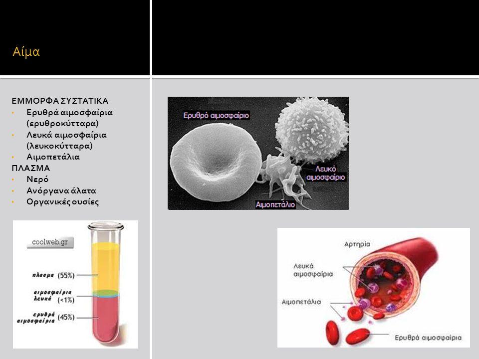 Αίμα ΕΜΜΟΡΦΑ ΣΥΣΤΑΤΙΚΑ Ερυθρά αιμοσφαίρια (ερυθροκύτταρα)