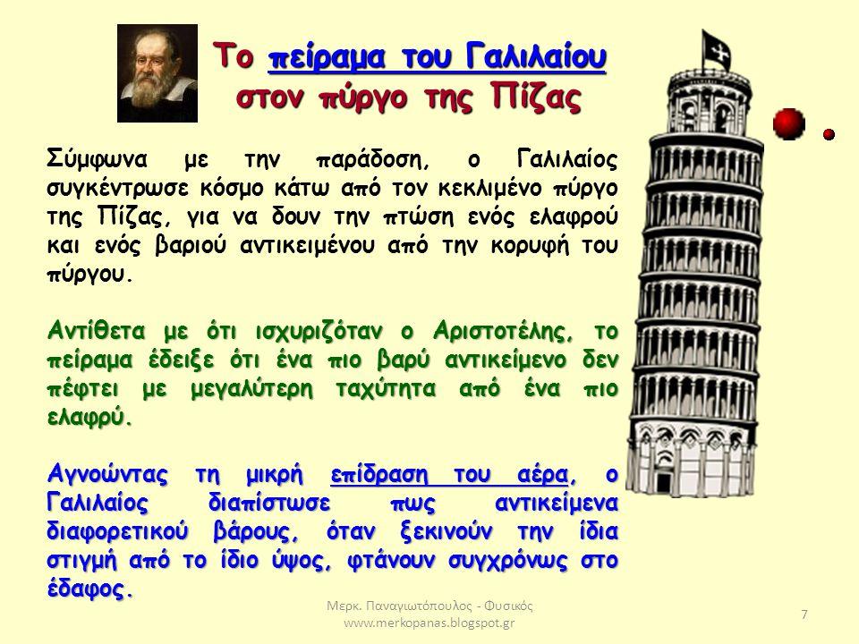 Το πείραμα του Γαλιλαίου στον πύργο της Πίζας