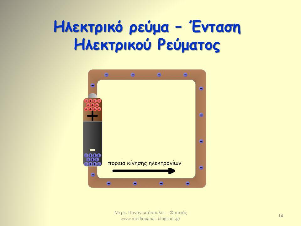 Ηλεκτρικό ρεύμα – Ένταση Ηλεκτρικού Ρεύματος