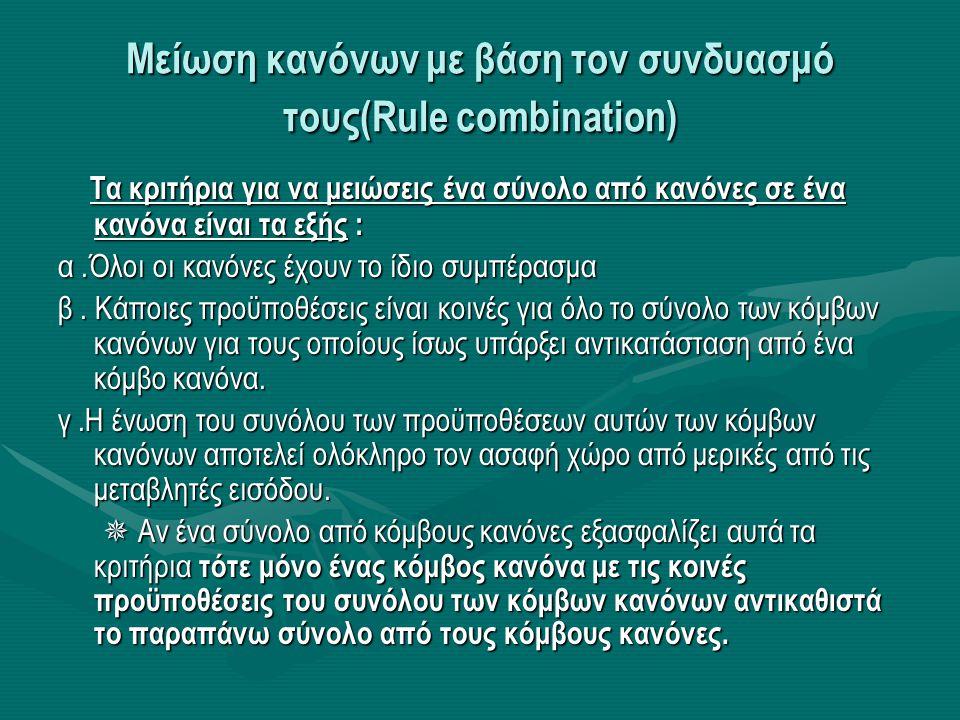 Mείωση κανόνων με βάση τον συνδυασμό τους(Rule combination)