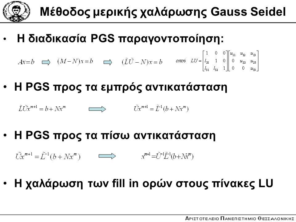 Μέθοδος μερικής χαλάρωσης Gauss Seidel