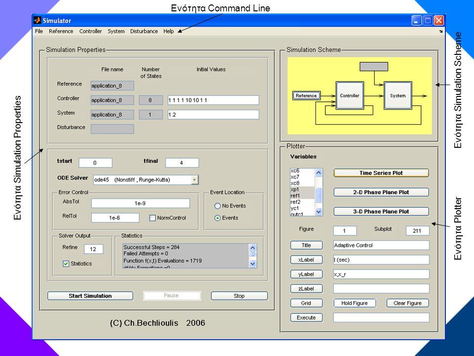 Ενότητα Command Line Ενότητα Simulation Scheme Ενότητα Simulation Properties Ενότητα Plotter