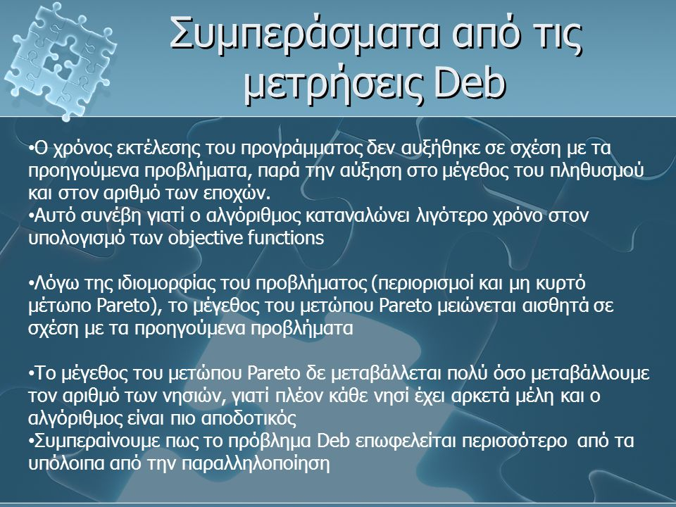 Συμπεράσματα από τις μετρήσεις Deb