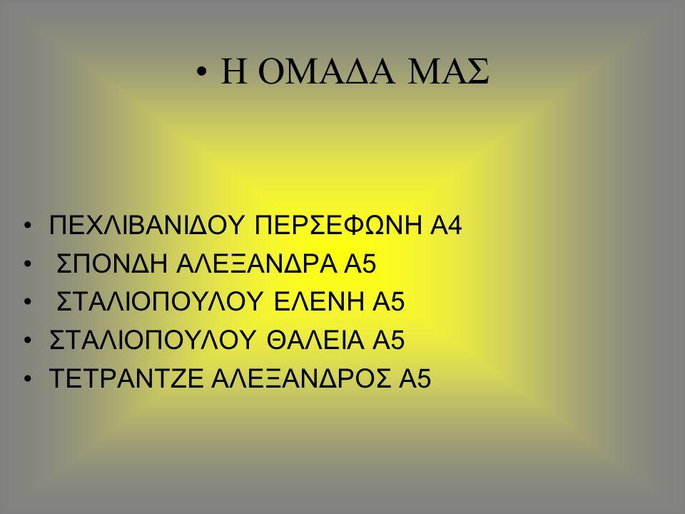 Η ΟΜΑΔΑ ΜΑΣ ΠΕΧΛΙΒΑΝΙΔΟΥ ΠΕΡΣΕΦΩΝΗ Α4 ΣΠΟΝΔΗ ΑΛΕΞΑΝΔΡΑ Α5