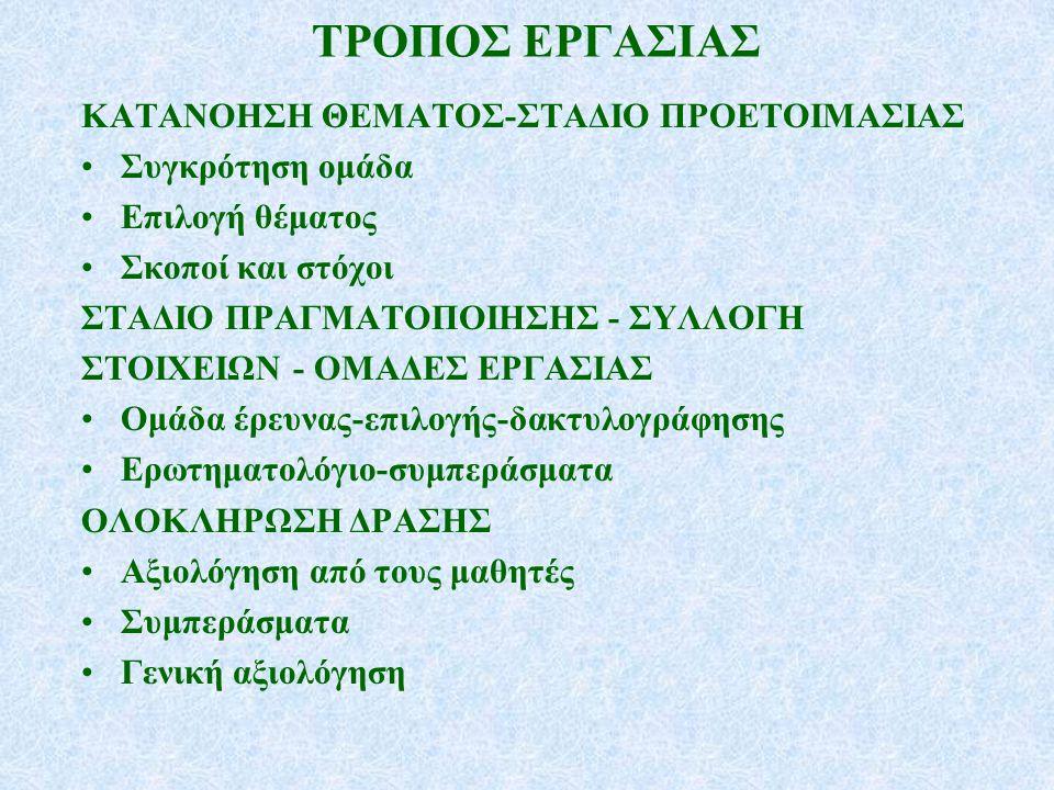 ΤΡΟΠΟΣ ΕΡΓΑΣΙΑΣ ΚΑΤΑΝΟΗΣΗ ΘΕΜΑΤΟΣ-ΣΤΑΔΙΟ ΠΡΟΕΤΟΙΜΑΣΙΑΣ