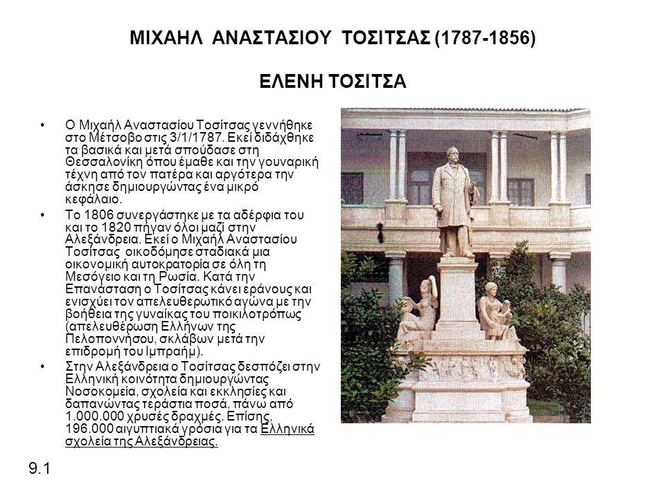 ΜΙΧΑΗΛ ΑΝΑΣΤΑΣΙΟΥ ΤΟΣΙΤΣΑΣ (1787-1856) ΕΛΕΝΗ ΤΟΣΙΤΣΑ