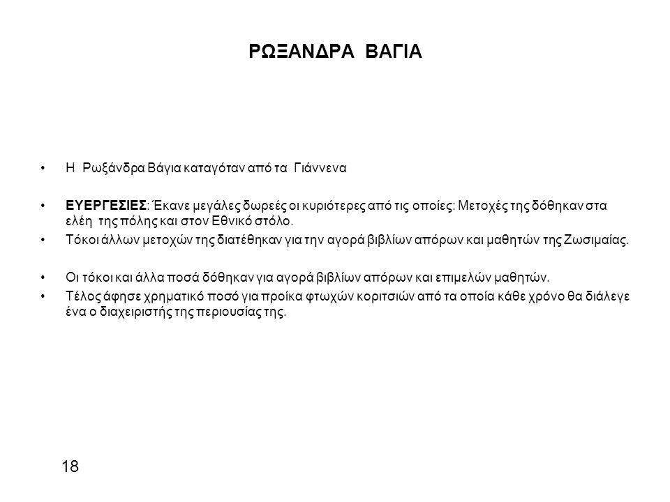 ΡΩΞΑΝΔΡΑ ΒΑΓΙΑ 18 Η Ρωξάνδρα Βάγια καταγόταν από τα Γιάννενα