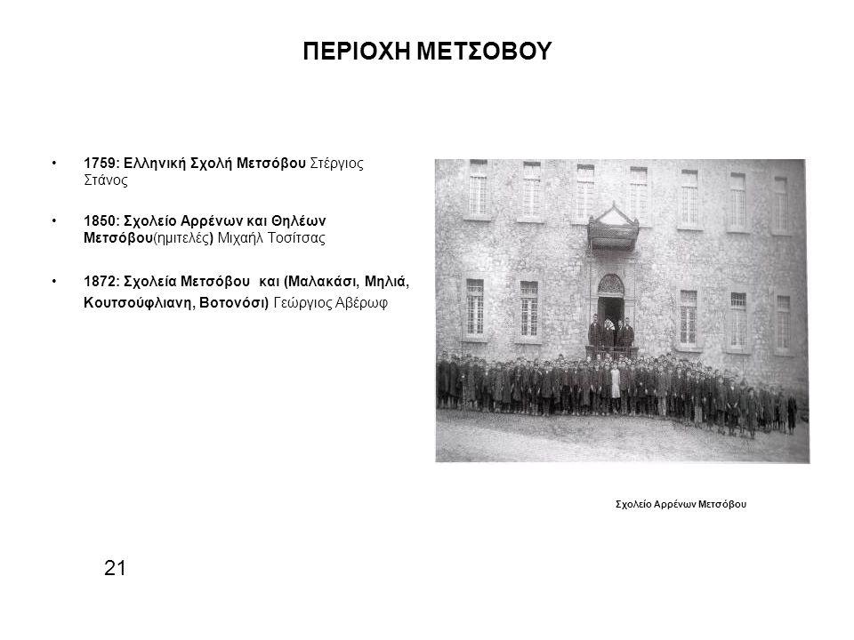 ΠΕΡΙΟΧΗ ΜΕΤΣΟΒΟΥ 21 1759: Ελληνική Σχολή Μετσόβου Στέργιος Στάνος