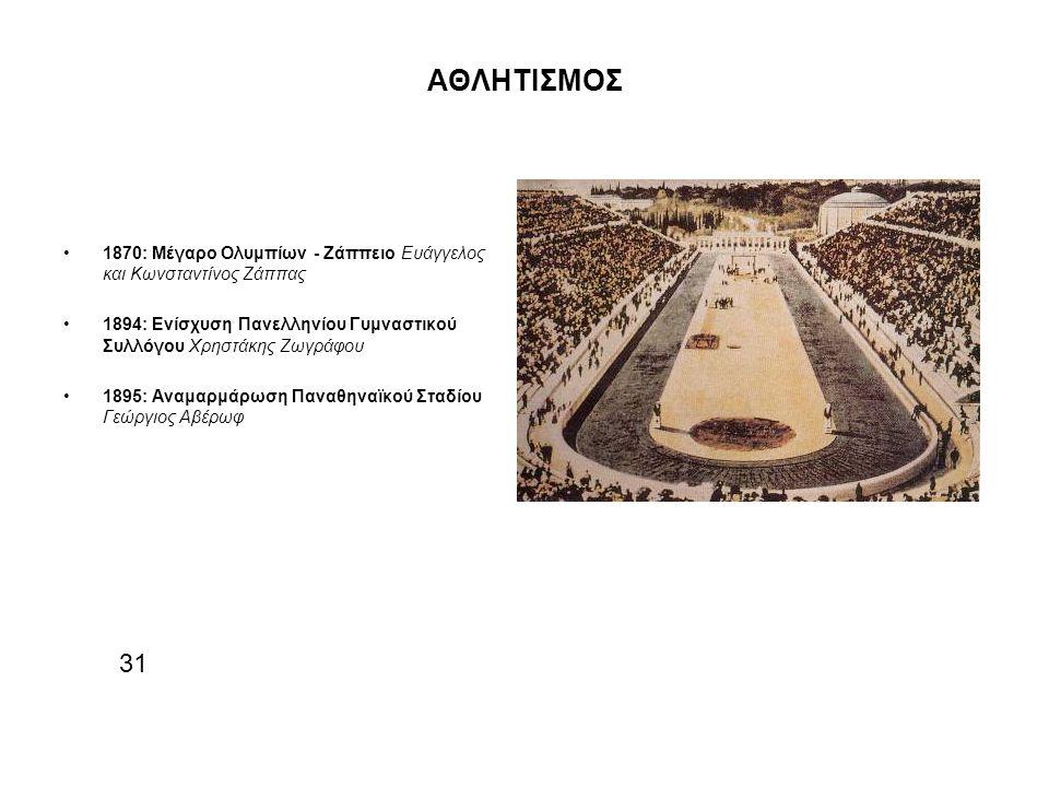 ΑΘΛΗΤΙΣΜΟΣ 1870: Μέγαρο Ολυμπίων - Ζάππειο Ευάγγελος και Κωνσταντίνος Ζάππας. 1894: Ενίσχυση Πανελληνίου Γυμναστικού Συλλόγου Χρηστάκης Ζωγράφου.