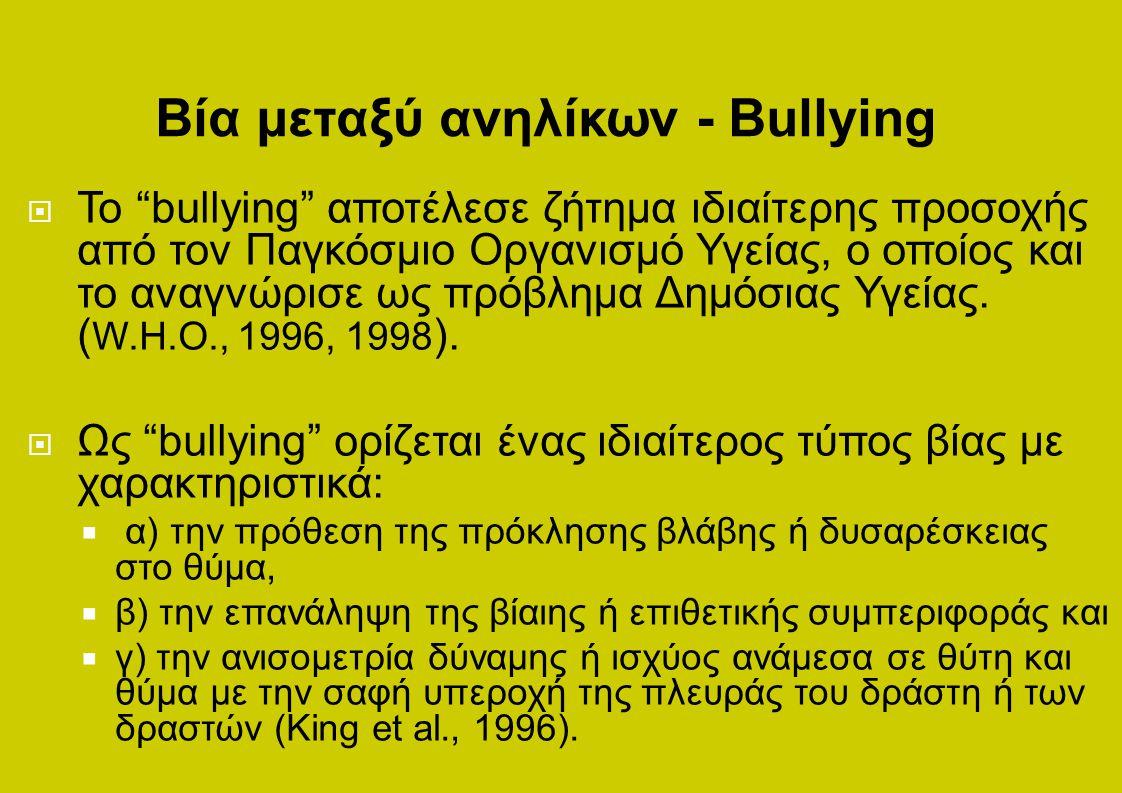 Βία μεταξύ ανηλίκων - Bullying